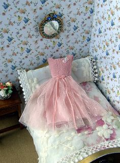 Dollhouse miniature. Display dress for dollhouse. 1/12 scale. Pale rose pink dress. Micro knitting and tulle.