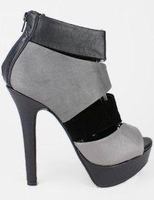 """Gray 4 3/4"""" Heel Booties"""