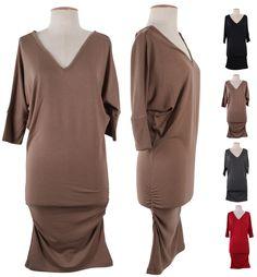 V-Neck Dolman Sleeve Long Stretch Tunic Knit Sweater Mini Pullover Dress Tunic Sweater, V Neck, Pullover, Knitting, Casual, Sweaters, Mini, Sleeve, Tops