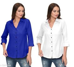 Checkout this latest Shirts Product Name: *Fashionable Contemporary Women's Polyester Solid Women's Shirts(Pack Of 2)* Fabric: Polyester Sleeve Length: Three-Quarter Sleeves Pattern: Solid Multipack: 2 Sizes: S, M, L, XL Country of Origin: India Easy Returns Available In Case Of Any Issue   Catalog Rating: ★3.8 (293)  Catalog Name: Fashionable Contemporary Women's Polyester Solid Women's Shirts Combo CatalogID_446822 C79-SC1022 Code: 405-3240588-1131
