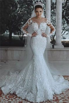 2018 Luxury Beaded Lace Mermaid Wedding Dresses with Sleeves  c50333660d85