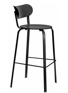 Chaise de bar Stil / H 75 cm - Métal Métal laqué noir - Lapalma