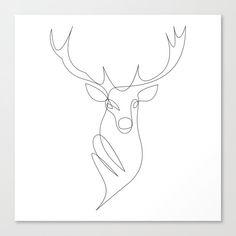 oh deer - one line Canvas Print by addillum - MEDIUM Deer Tattoo, Fox Tattoos, Tree Tattoos, Raven Tattoo, Arm Tattoo, Hand Tattoos, Sleeve Tattoos, Animal Line Drawings, Animal Sketches