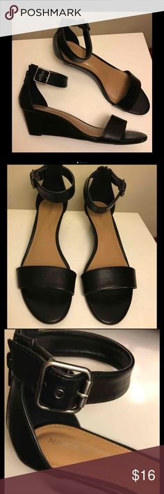 Medina black ankle strap sandals All black zips up the back - like new never worn Merona Shoes Sandals
