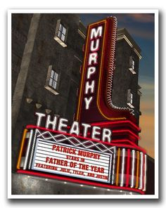 Personalized Retro Theater Night Art Print by FantaSigns on Etsy, $29.95 #neon #signs #retro #Art #Personalized