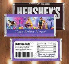Tangled Rapunzel Printable Candy Bar Wrappers - Tangled Rapunzel Birthday Party - Digital File on Etsy, $3.50