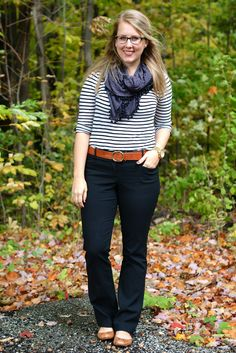 Great black pants, striped top, scarf, flats. I can't remember the last time a wore a belt. I'm not sure how it would look on my figure.
