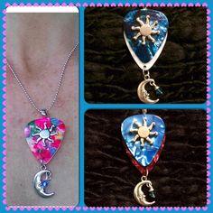 Sun King guitar pick necklaces Tye Dye, Turquoise White, Aqua Red $21 Order thru our website
