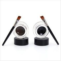 4pcs/lot = 2Colors Brown Black Eyeliner Gel + 2 Brush , Brand Smudge-proof Waterproof Eye Liner Gel Korean Cosmetic Makeup Set