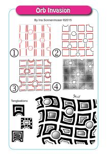 Orb Invasion - Step by Step Zentangle Pattern by Ina Sonnenmoser Art Doodle, Tangle Doodle, Tangle Art, Zentangle Drawings, Doodles Zentangles, Doodle Drawings, Doodle Patterns, Zentangle Patterns, Paper Patterns