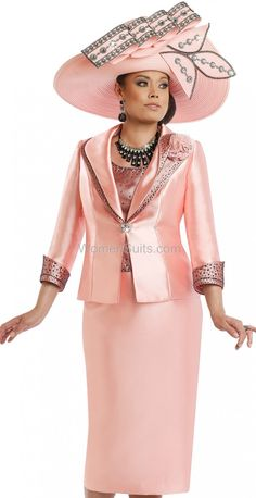 Donna Vinci 5567 ( Exclusive Silk Womens Church Suit With Black Rhinestones And Camisole ),Donna Vinci Italy Suits For Church Spring And Summer 2017 Women Church Suits, Suits For Women, Donna Vinci Church Suits, Church Attire, Summer Hats For Women, Dress Suits, Well Dressed, Fashion Brands, Peplum Dress