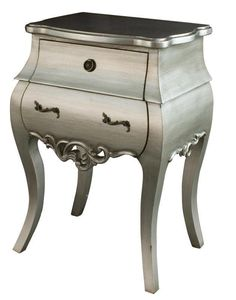 Antique silver bedside table is unique and grotesque.