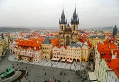 View of the Church of Our Lady before Týn and Old Town Square from the top of the Clock Tower Travel Directions, Equestrian Statue, Gothic Buildings, Visit Prague, Church Of Our Lady, Old Town Square, Prague Castle, Baroque Architecture, Old Churches