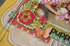 The Scrappiest blog... scrapbooking layouts: I like the twine tied around the page