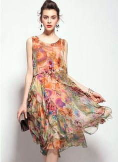 Silk Floral Sleeveless Knee-Length Vintage Dresses