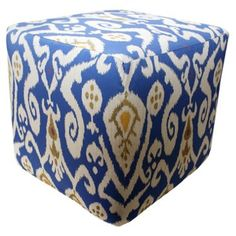 Check out this item at One Kings Lane! Ikat Outdoor Pouf, Blue/Multi