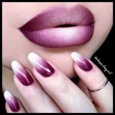 Cool ombre lips and nails - Miladies.net Lip Art, Lipstick Art, Lipsticks, Liquid Lipstick, Maybelline Lipstick, Lipstick Brands, Ombre Lips, Pink Lips, Purple Lipstick