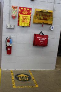 The SDS binder is marked by a pre-cut floor marking kit featuring Superior Mark tape and a floor sign. Health And Safety Poster, Safety Posters, Safety Fail, Fire Safety, 5 S Lean, Safety Pictures, Amélioration Continue, 6 Sigma, Safety Message