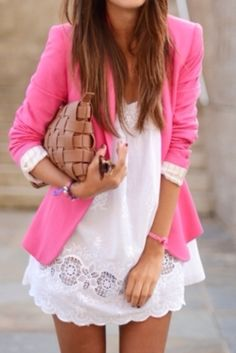 Pink blazer and white summer dress.