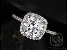 Rosados Box Catalina 7.5mm Platinum Cushion FB Moissanite and Diamonds Halo Engagement Ring