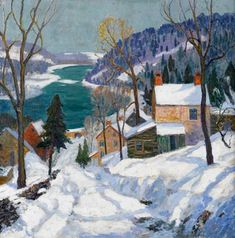 """FERN ISABEL COPPEDGE (American 1883-1951) """"THE HILL ROAD"""" Signed 'Fern I Coppedge' bottom right, signed and inscribed with title in pencil verso, oil on canvas 30 x 30 in. (76.2 x 76.2cm) #FreemansAuction"""