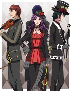 heart no kuni no alice, Mary Gowland, Vivaldi, and Blood Dubois, aka Gowland, Queen of Hearts, and Hatter.