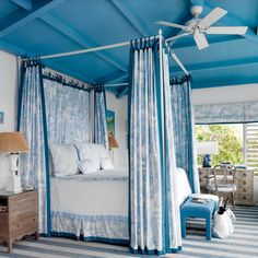 Tour a Gorgeous Retro-Caribbean Beach House Tour a Gorgeous Retro-Caribbean Beach House Susan Buckley tjturtle Bedrooms Get the Look The botanical fabric is by Manuel Canovas; Coastal Bedrooms, Coastal Living, Beach Bedrooms, Cool Rooms, Small Rooms, Bedroom Colors, Bedroom Decor, Bedroom Ideas, French Provincial Bedroom