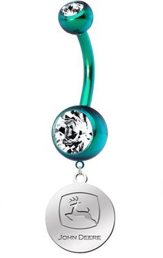 John Deere Charm On Double Gem Belly Button   by EverythingExpress, $15.95