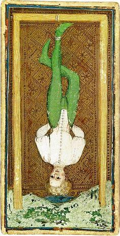 Arcane XII : Le Pendu - Tarot Visconti-Sforza.