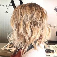 Layered Blonde Long Bob