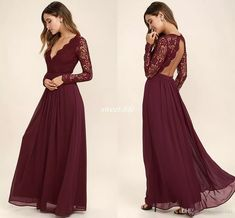 2017 Burgundy Chiffon Bridesmaid Dresses Long Sleeves Western Country Style V-Neck Backless Long Beach Lace Top Wedding Party Dresses Cheap Bridesmaid Dresses Cheap Evening Dresses Online with $95.0/Piece on Sweet-life's Store | DHgate.com