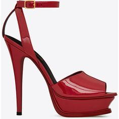 Saint Laurent TRIBUTE 105 Peep Toe Sandal in Red (€935) ❤ liked on Polyvore featuring shoes, sandals, yves saint laurent, leather sole shoes, peep-toe shoes, red shoes and peep toe sandals