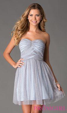 Short Strapless Glitter Dress at PromGirl.com || Definitely my favorite