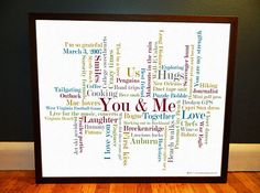 Anniversary gift for men / husband  Custom Word by ForKeepsDesigns, $58.00