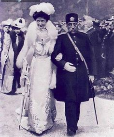 Mozafar Al Din Shah of Iran, along with Queen Helena, Queen of Italy - 1902, Italy