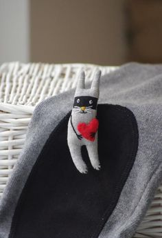 Bunny bandit Brooch by adatine on Etsy, $26.00