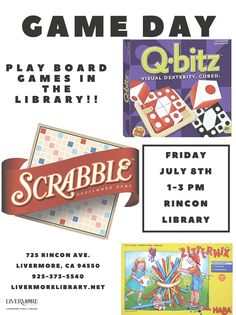 We will be playing board games at Rincon Library July 8, Friday, at 1pm! You will recognize some old classics, like Uno and Scrabble, and you might learn a new, lesser-known game, like Blokus or Q-bitz. Other titles will be available for play. Come alone or with a friend or family, either way, there will be opponents available to play at Game Day! Show up anytime between 1-3pm to take part in the fun. This program is for all ages.