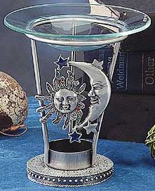 Aroma Lamp, Pewter: Celestial : Pagan Store, Wiccan Store, Witchcraft Store, An online Pagan, Wiccan and Witchcraft store