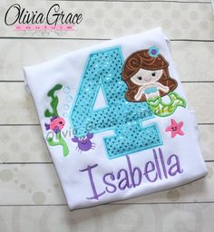 Girls Mermaid Birthday Shirt, Under the Seas Birthday Shirt, Embroidered Bodysuit or Shirt, 1st, 2nd, 3rd, 4th, 5th Birthday by OliviaGraceCouture on Etsy