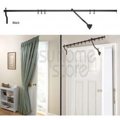 Black Rising Portiere Rod Insulate and draught draft proof the front door while adding a unique cozy home effect. When the door is opened the rod rises and the curtain is lifted slightly off the floor to stop it catching and dragging under the door.