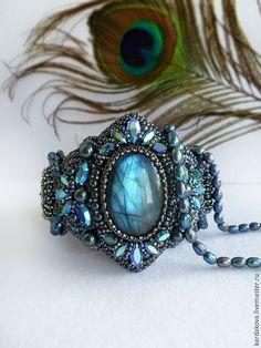 """Купить Браслет """"Mystical shine"""" с лабрадоритом и кристаллами сваровски - тёмно-синий, браслет с камнем"""
