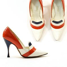 Frederick's of Hollywood 1960s vintage shoes, from Shoe Daydreams: Red, White and WhooHoo