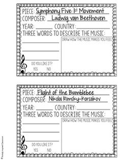 Want to expose your students to a variety of music and get them writing about it? Music In Our Schools Month - Music Listening Journals Beethoven - Symphony Number Five / Rimsky-Korsokov - Flight of the Bumblebee Drum Lessons, Music Lessons, Guitar Lessons, Learn Guitar Online, Middle School Music, Rhapsody In Blue, Music Lesson Plans, Music Worksheets, Music Activities