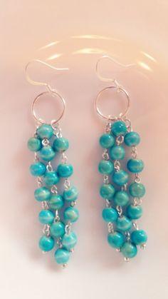 Modern multi-row blue beaded earrings by bethruberry on Etsy