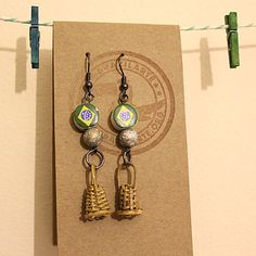Mini Caxixi Earrings / Pair by BrazilArteHandmade on Etsy, £20.00