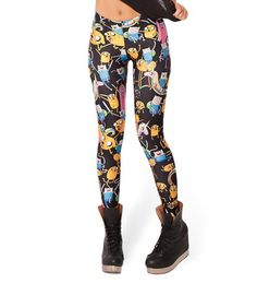 Fashion 3109 sexy girl women black adventure time party 3D prints Polyester elastic fitness Leggings Pants