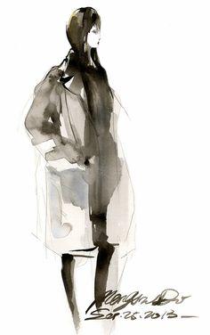 Fashion Illustrator Mengjie Di: The Girl with Black Coat