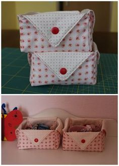 Mamma Gioca: Tutorial: come cucire un cestino di stoffa Fabric Origami, Diy Origami, Sewing Projects, Projects To Try, Fabric Boxes, Fabric Basket, Vide Poche, Sewing Rooms, Diy And Crafts