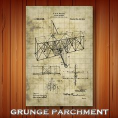 Early Aircraft Patent Print Wright Brothers Airplane Poster | Etsy Wright Brothers Airplane, Technical Artist, Grunge, Pilot Gifts, Patent Drawing, Crisp Image, Patent Prints, Unique Image, Colorful Backgrounds