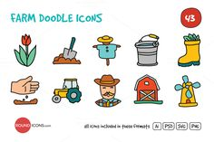 Check out Farm Doodle Icons Set by roundicons.com on Creative Market